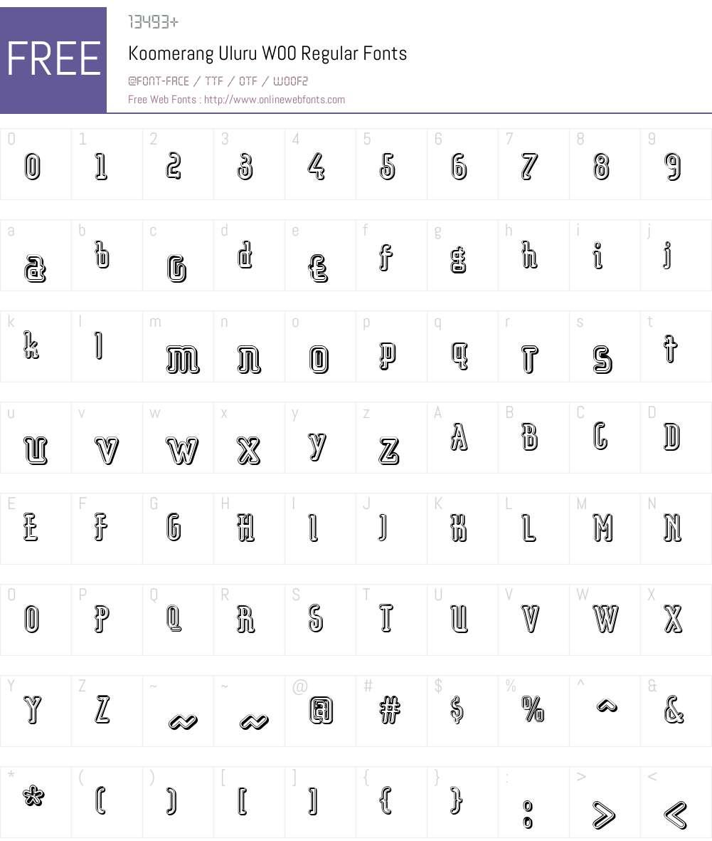 KoomerangUluruW00-Regular Font Screenshots