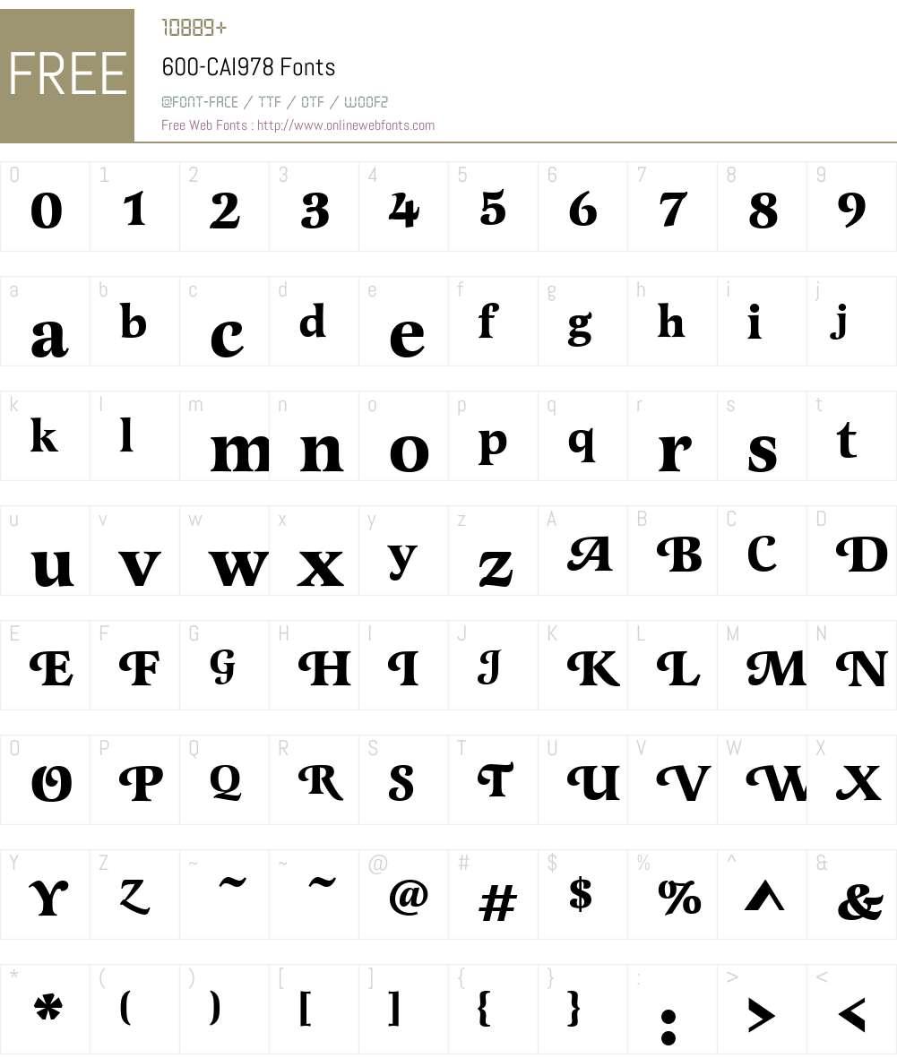 600-CAI978 Font Screenshots