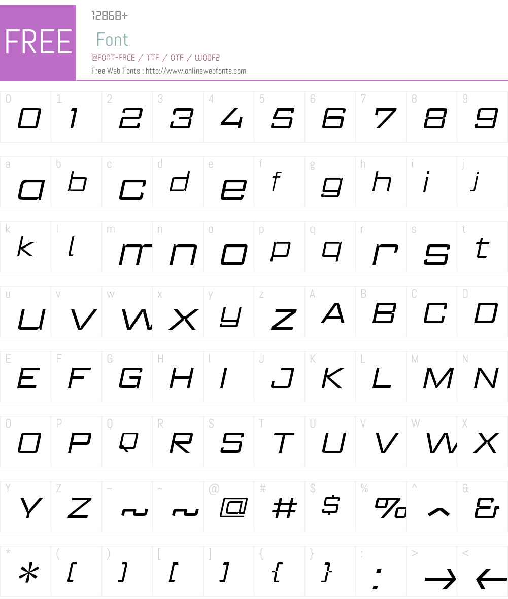 RegisterWideW00-LightItalic Font Screenshots