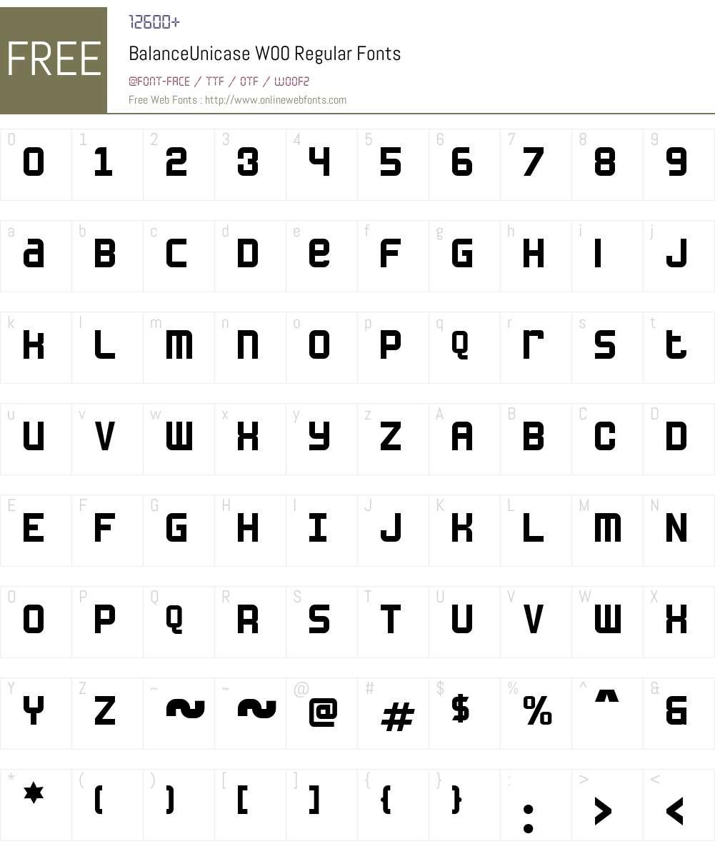 BalanceUnicase Font Screenshots