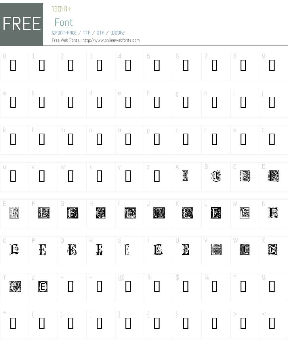 Ornamental Initials E Font Screenshots