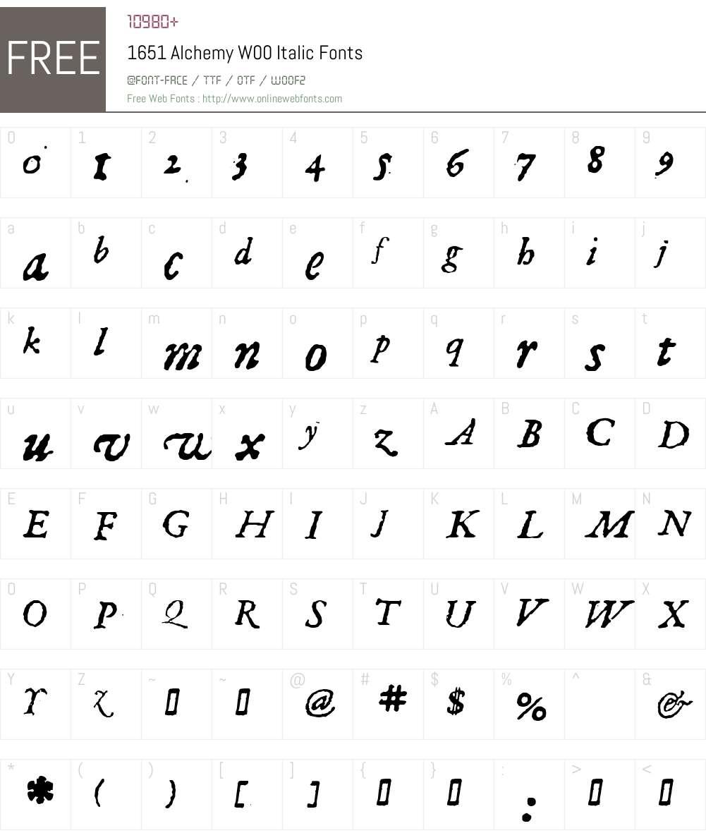 1651AlchemyW00-Italic Font Screenshots