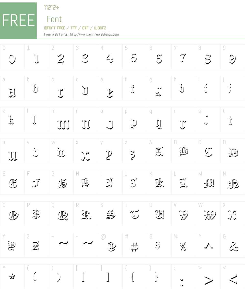 OldEnglishW01-OnlyShadow Font Screenshots
