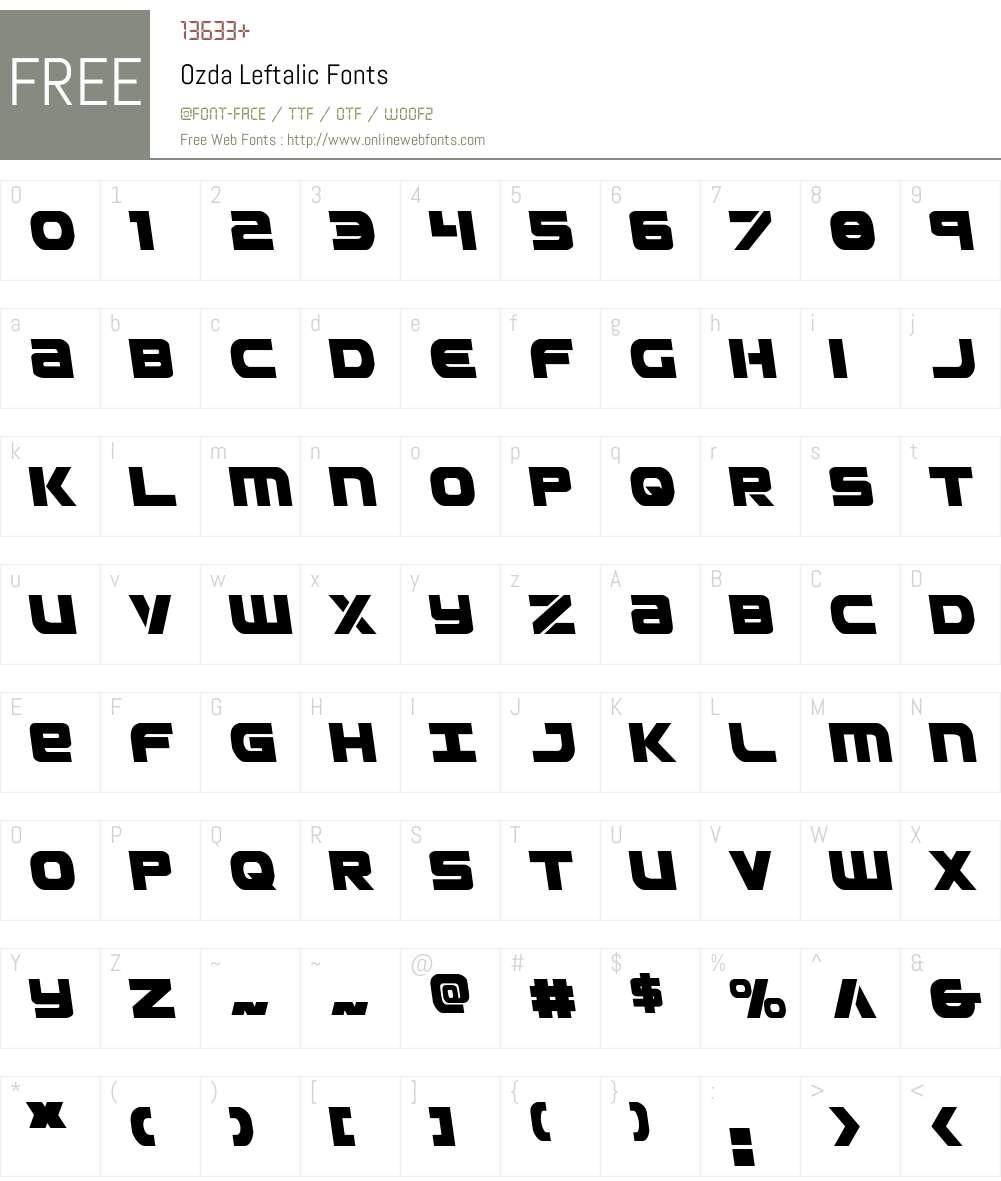 Ozda Leftalic Font Screenshots