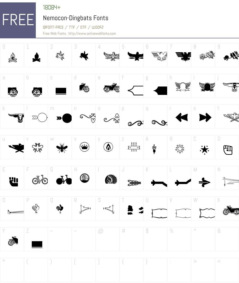 Nemocon Dingbats Font Screenshots