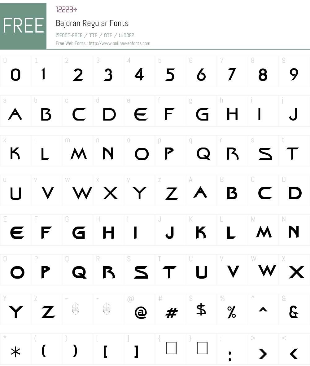 Bajoran Font Screenshots
