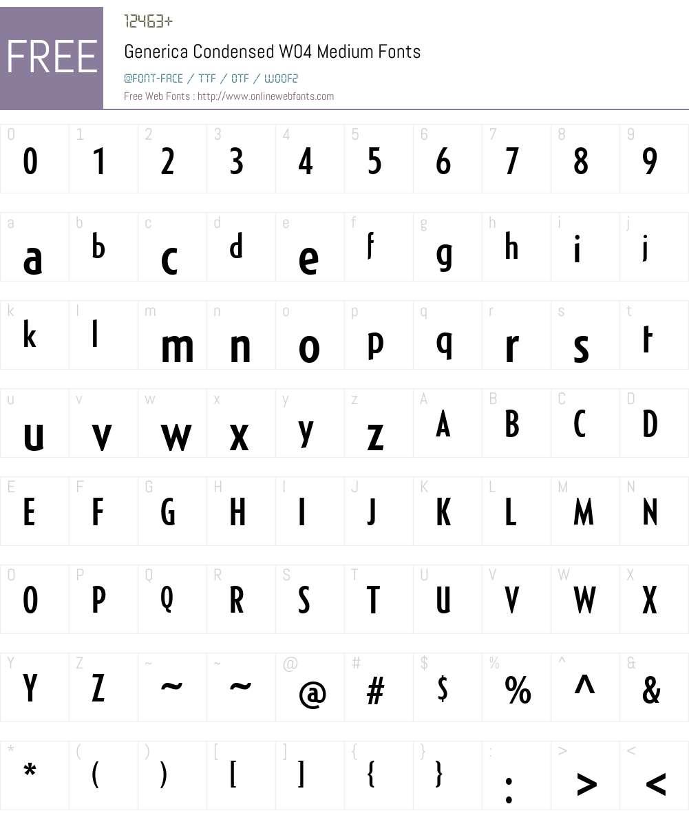 Generica Condensed Font Screenshots