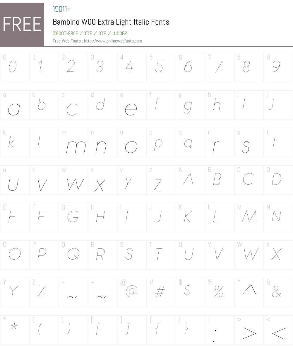 BambinoW00-ExtraLightItalic Font Screenshots