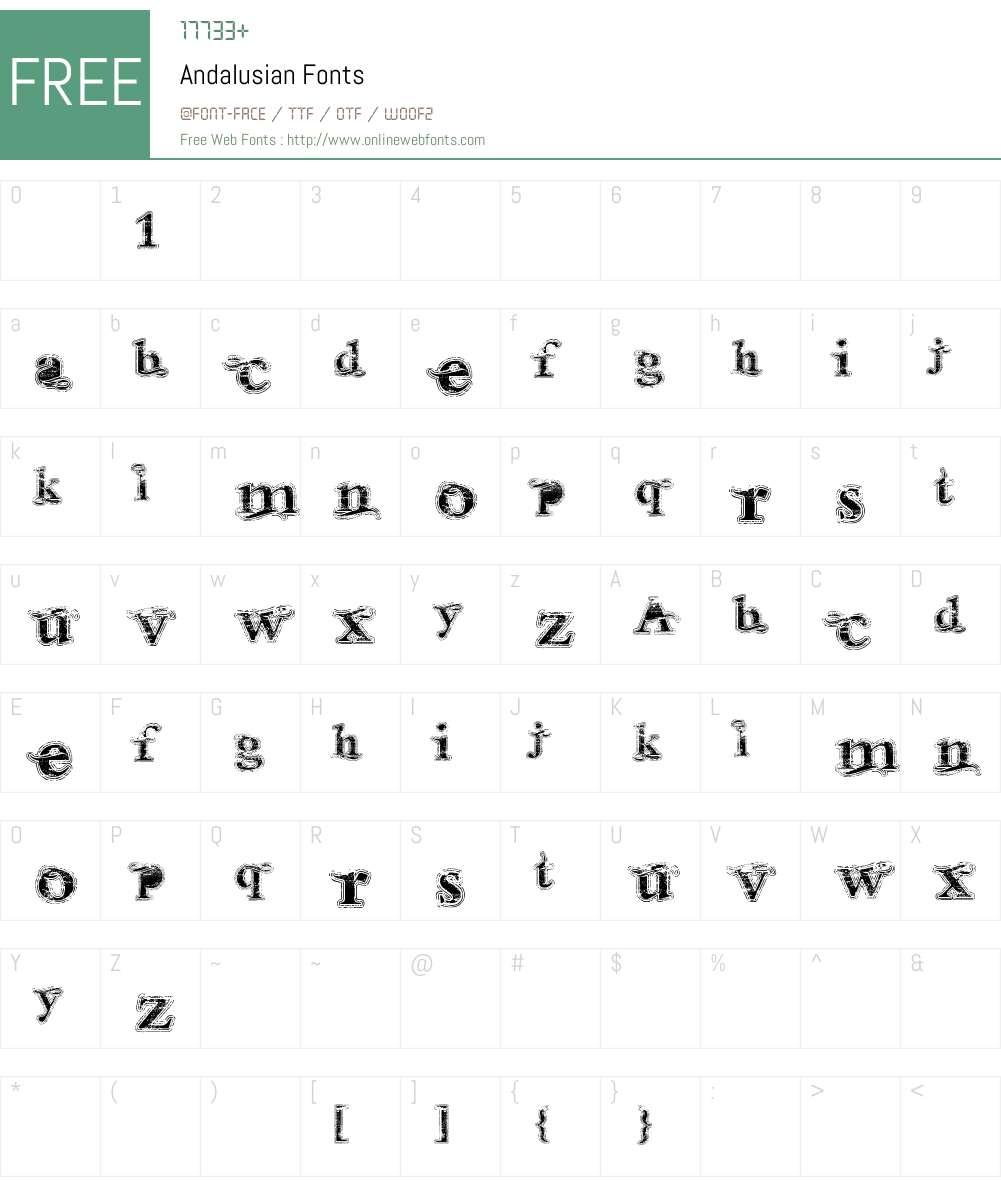 Andalusian Font Screenshots
