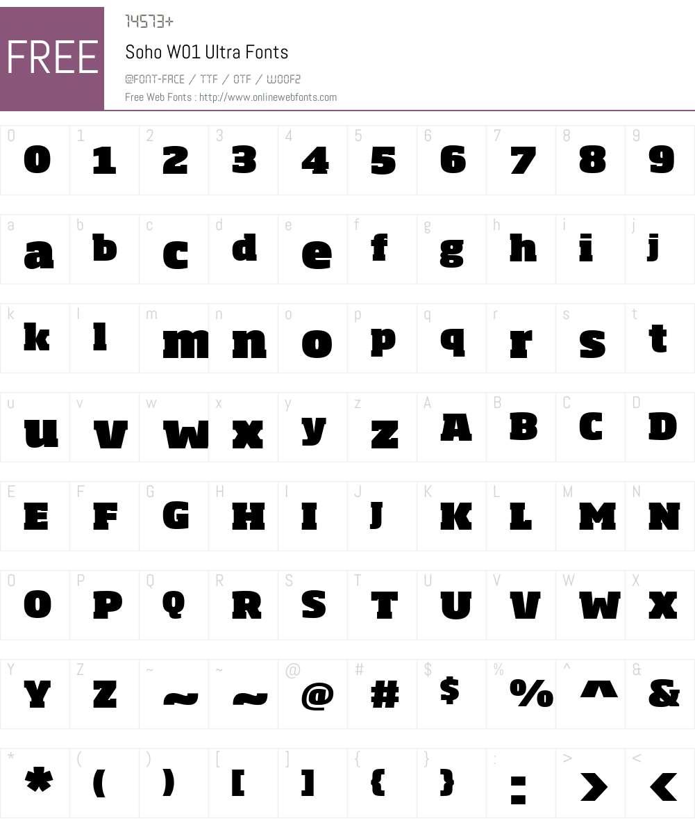 SohoW01-Ultra Font Screenshots
