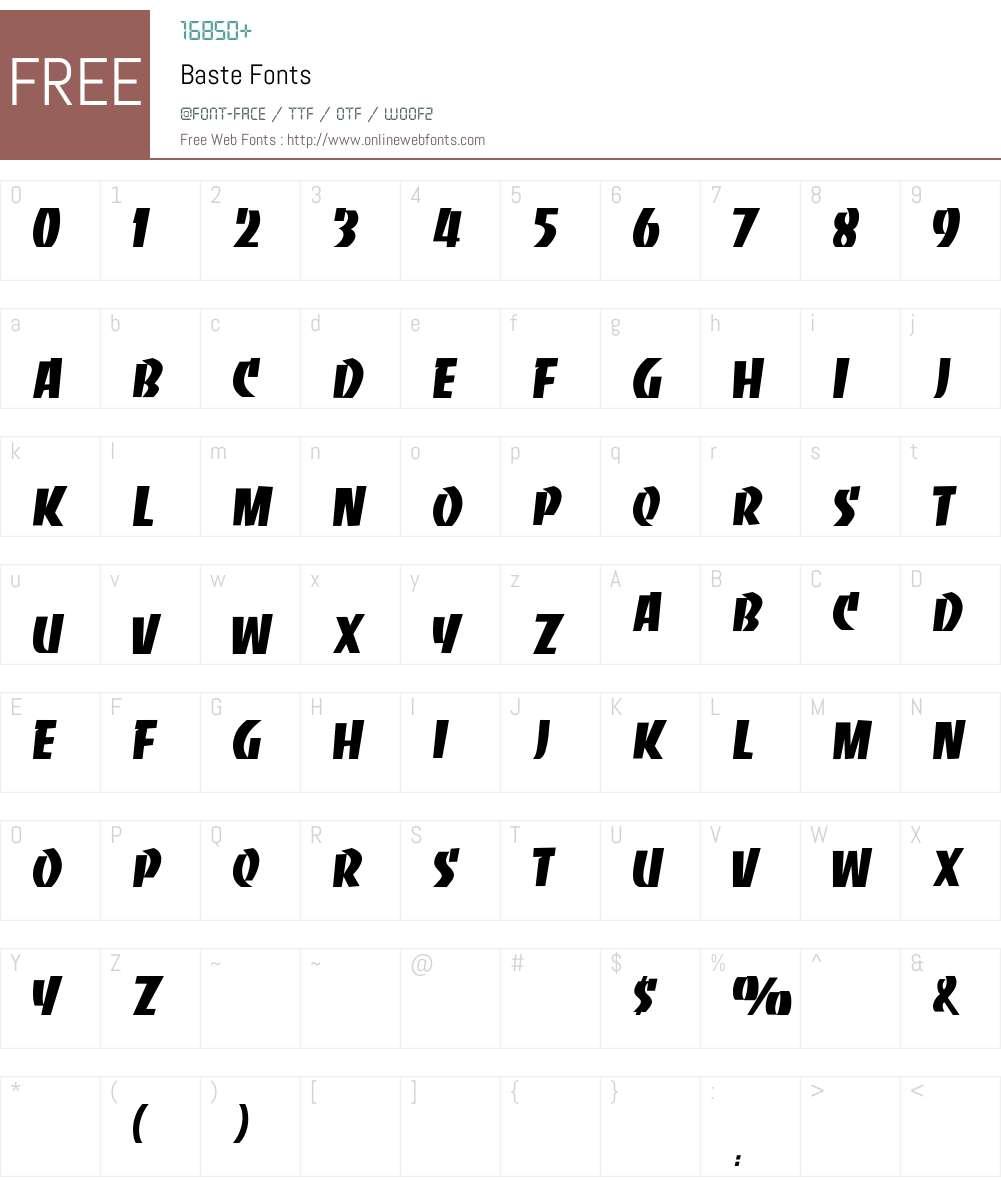 Baste Font Screenshots