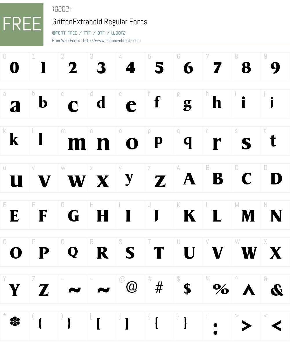 GriffonExtrabold Font Screenshots