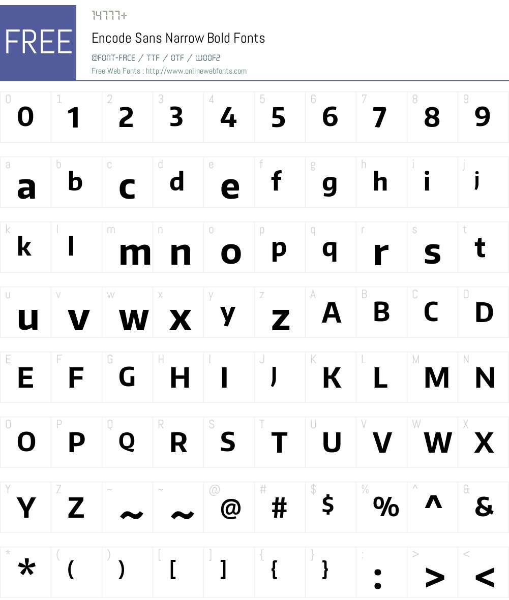 Encode Sans Narrow Font Screenshots