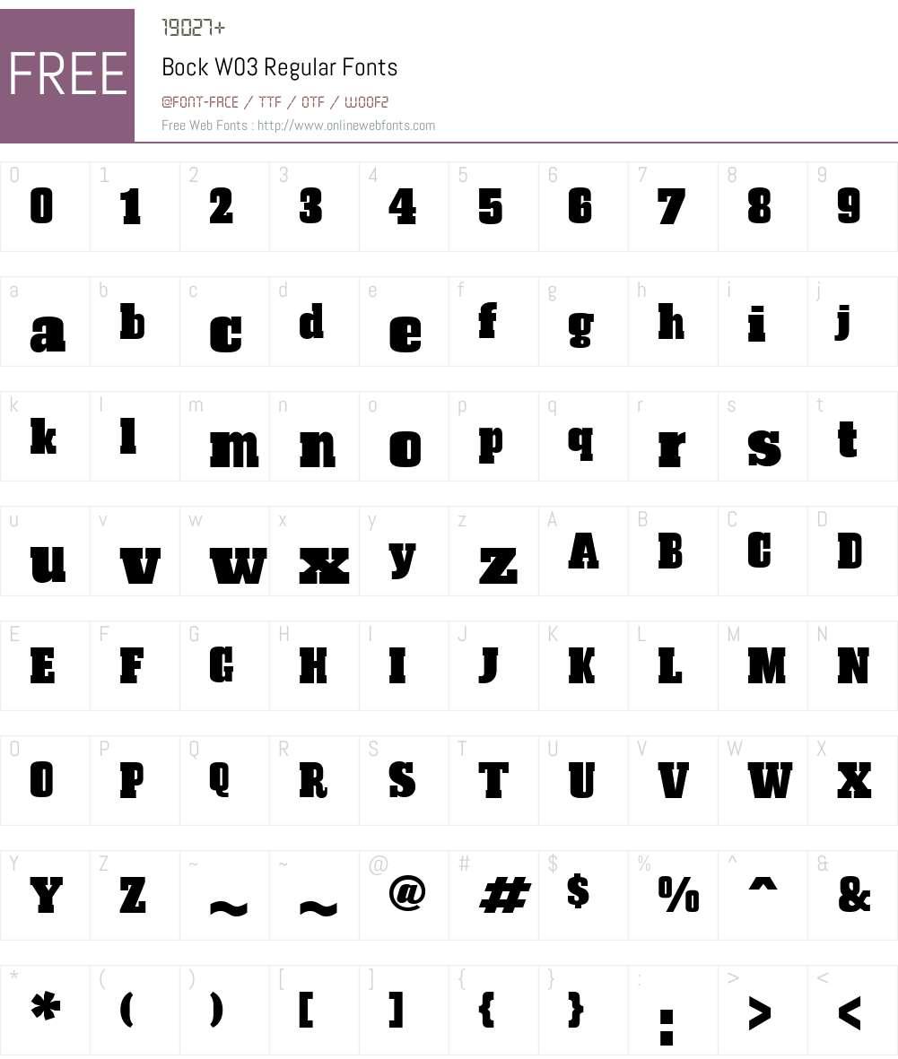 BockW03-Regular Font Screenshots