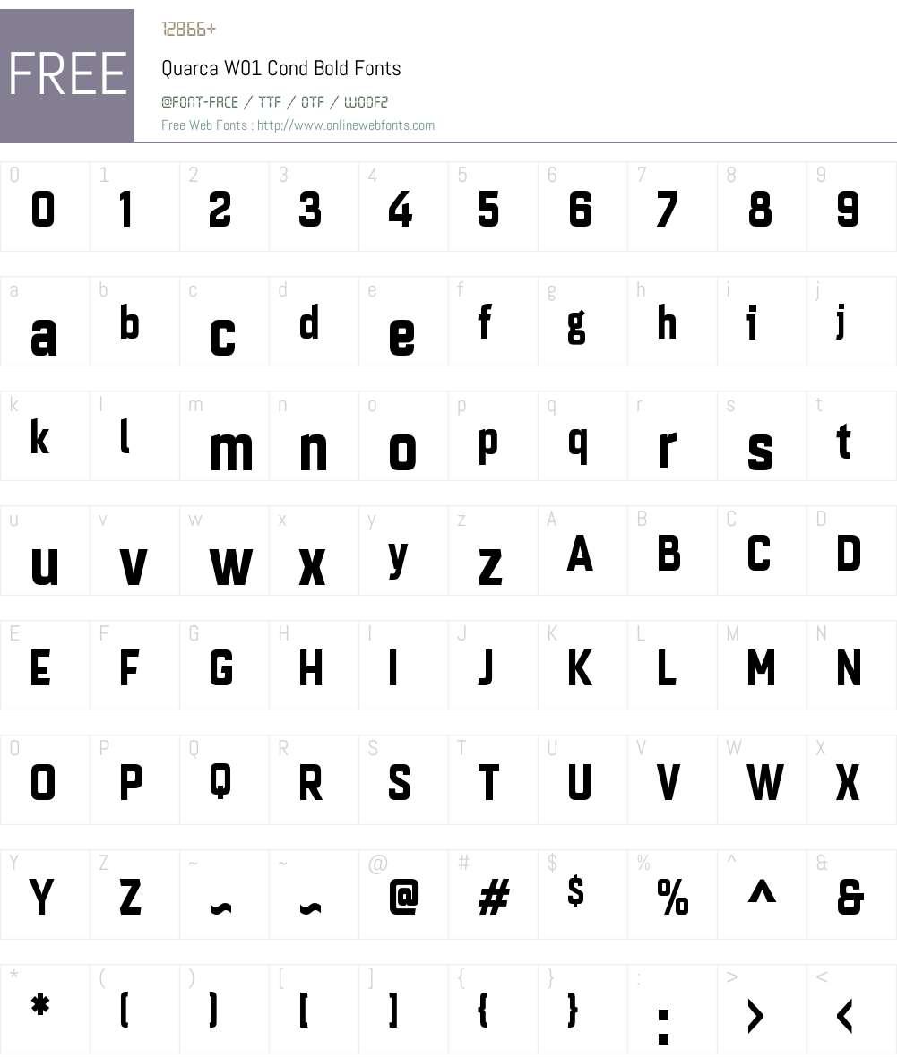 QuarcaW01-CondBold Font Screenshots