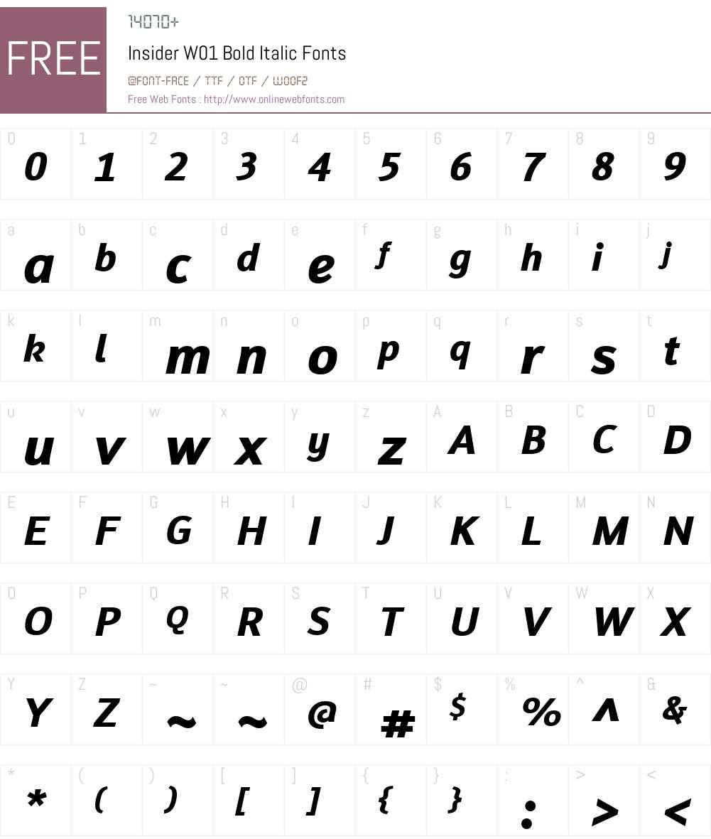InsiderW01-BoldItalic Font Screenshots