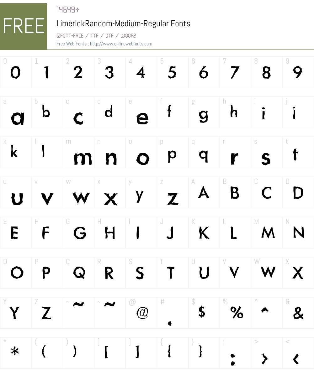 LimerickRandom-Medium Font Screenshots
