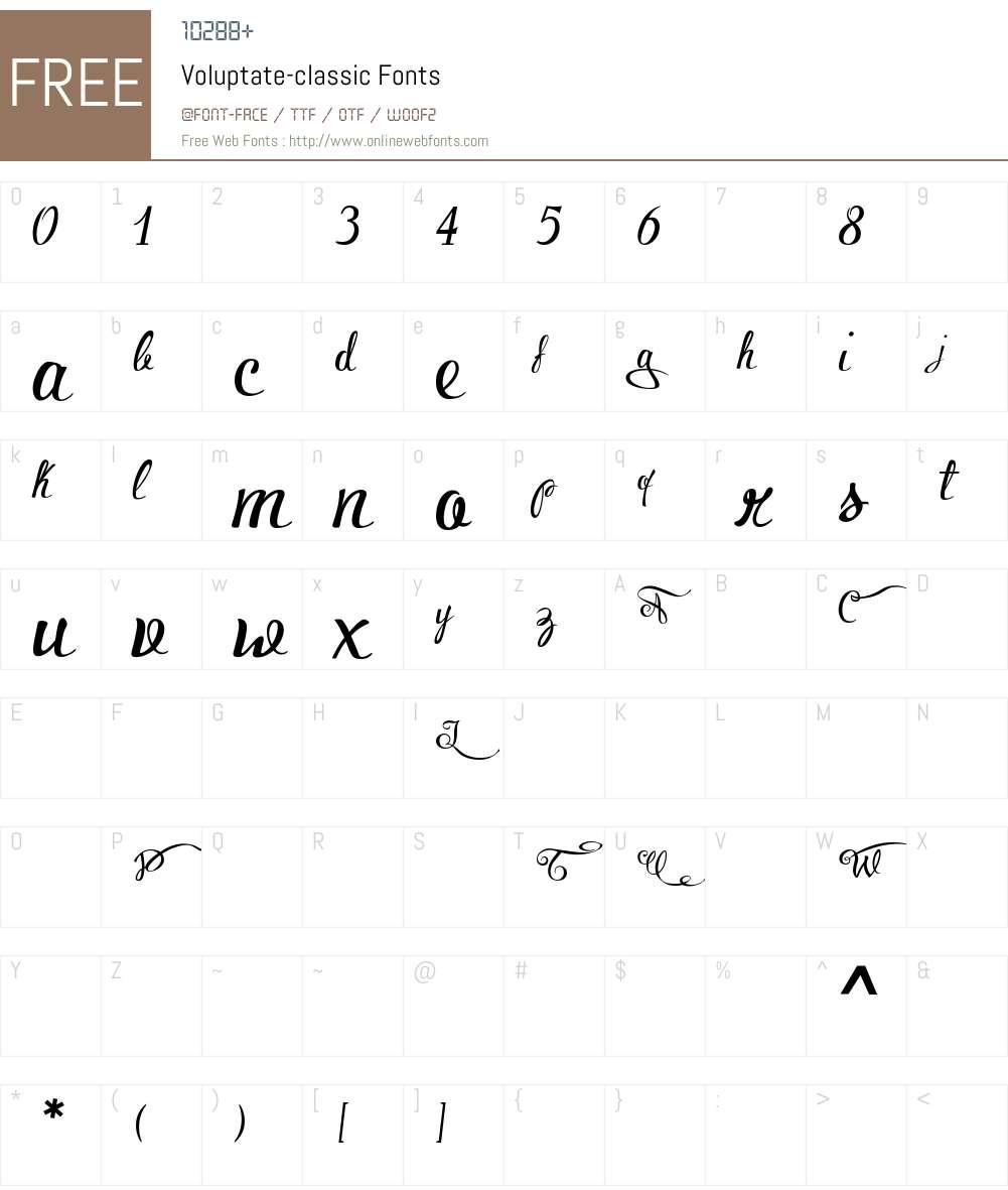 Voluptate-classic Font Screenshots