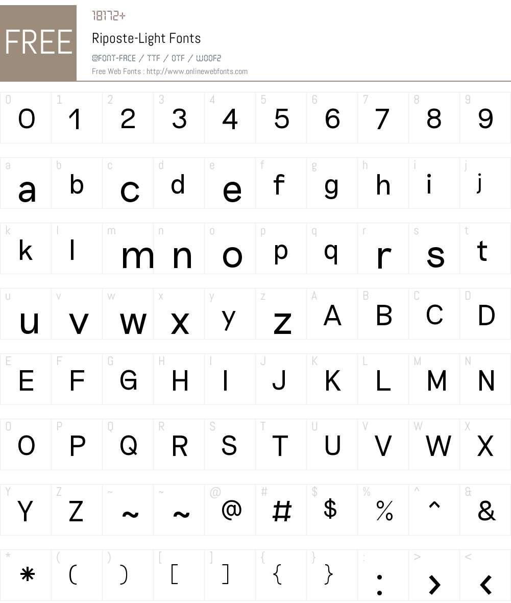 Riposte Light Font Screenshots