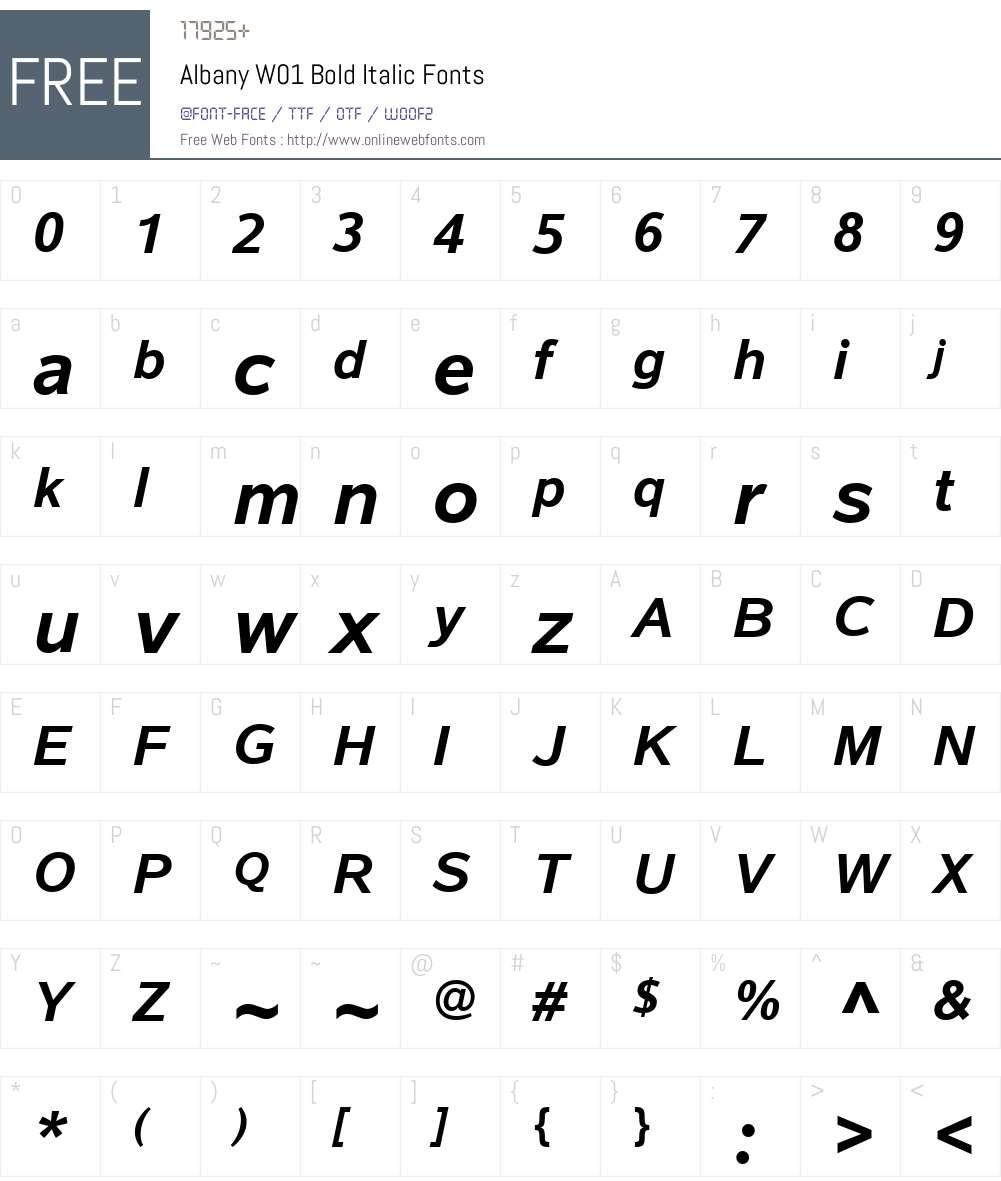 AlbanyW01-BoldItalic Font Screenshots