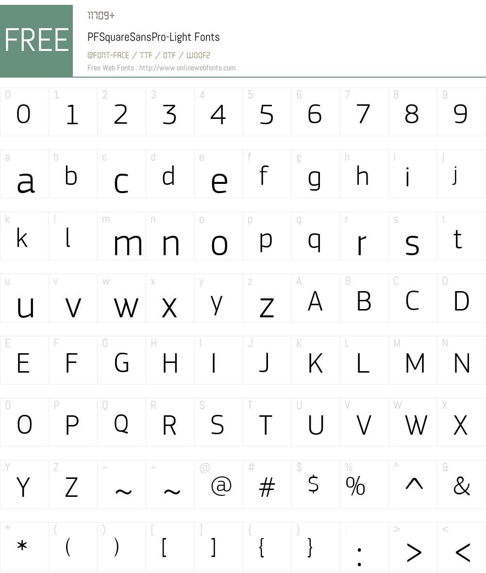 PF Square Sans Pro Light Font Screenshots