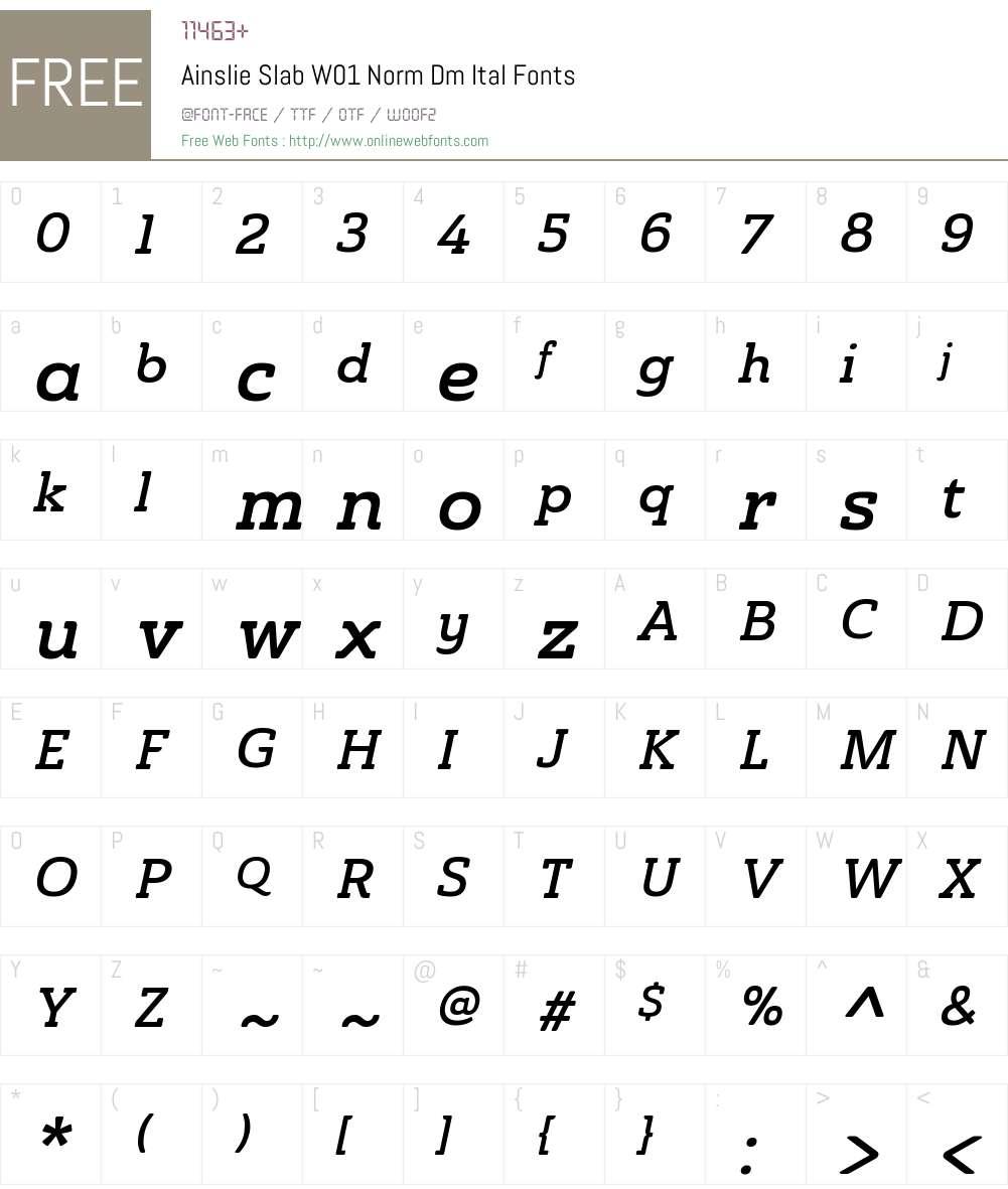 AinslieSlabW01-NormDemiItal Font Screenshots