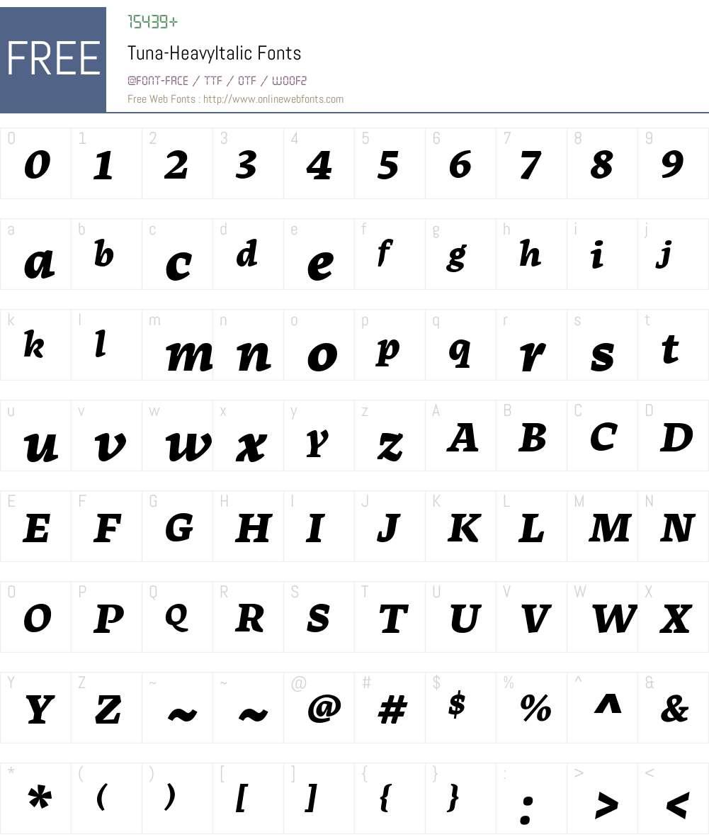 Tuna-HeavyItalic Font Screenshots