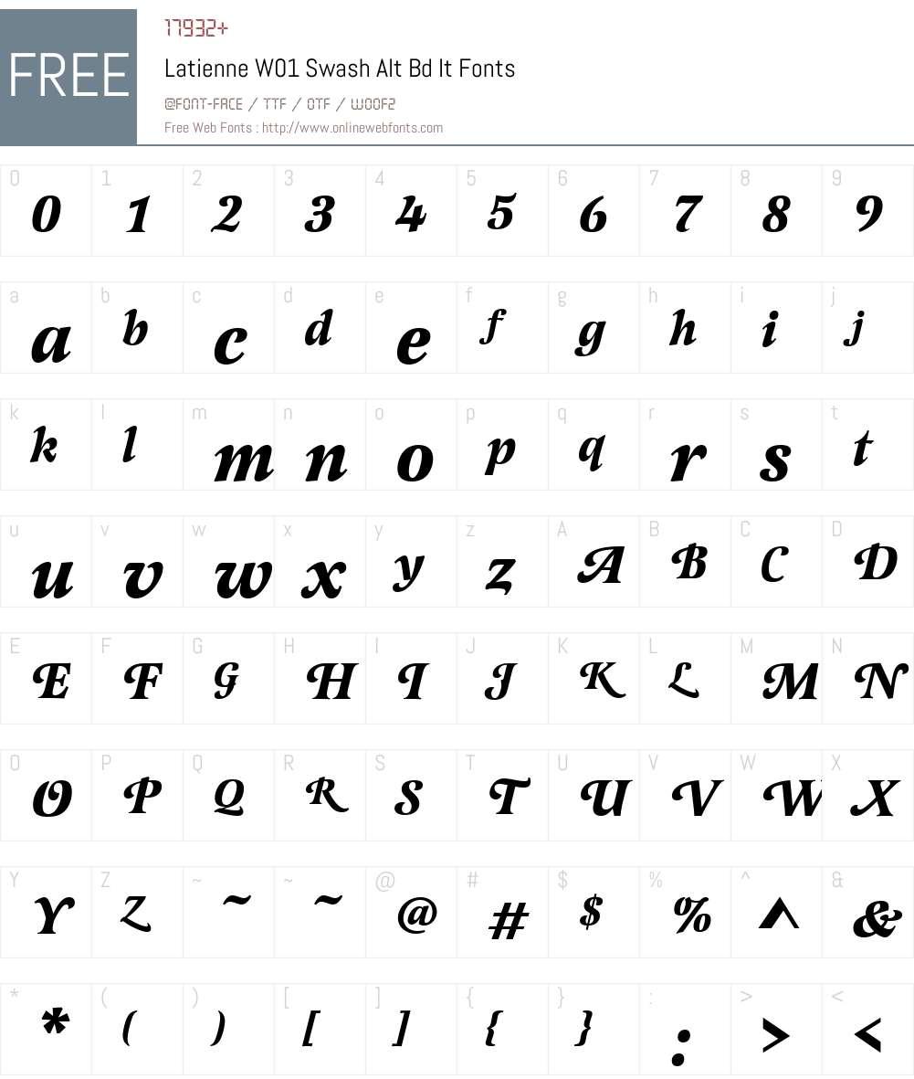 LatienneW01-SwashAltBdIt Font Screenshots