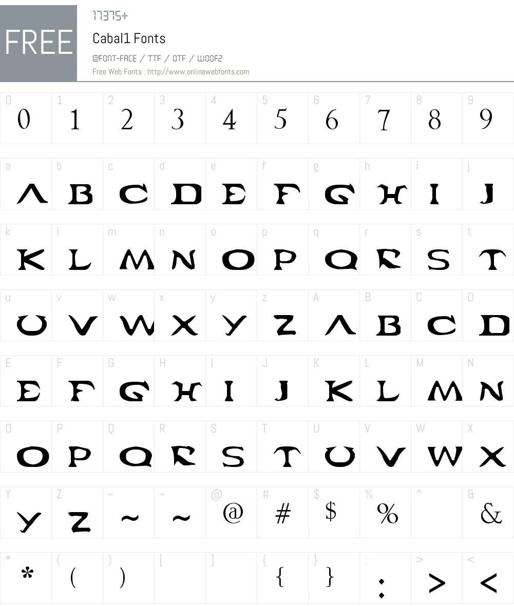 Cabal Font Screenshots