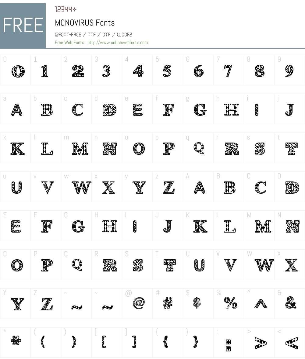 MONOVIRUS Font Screenshots