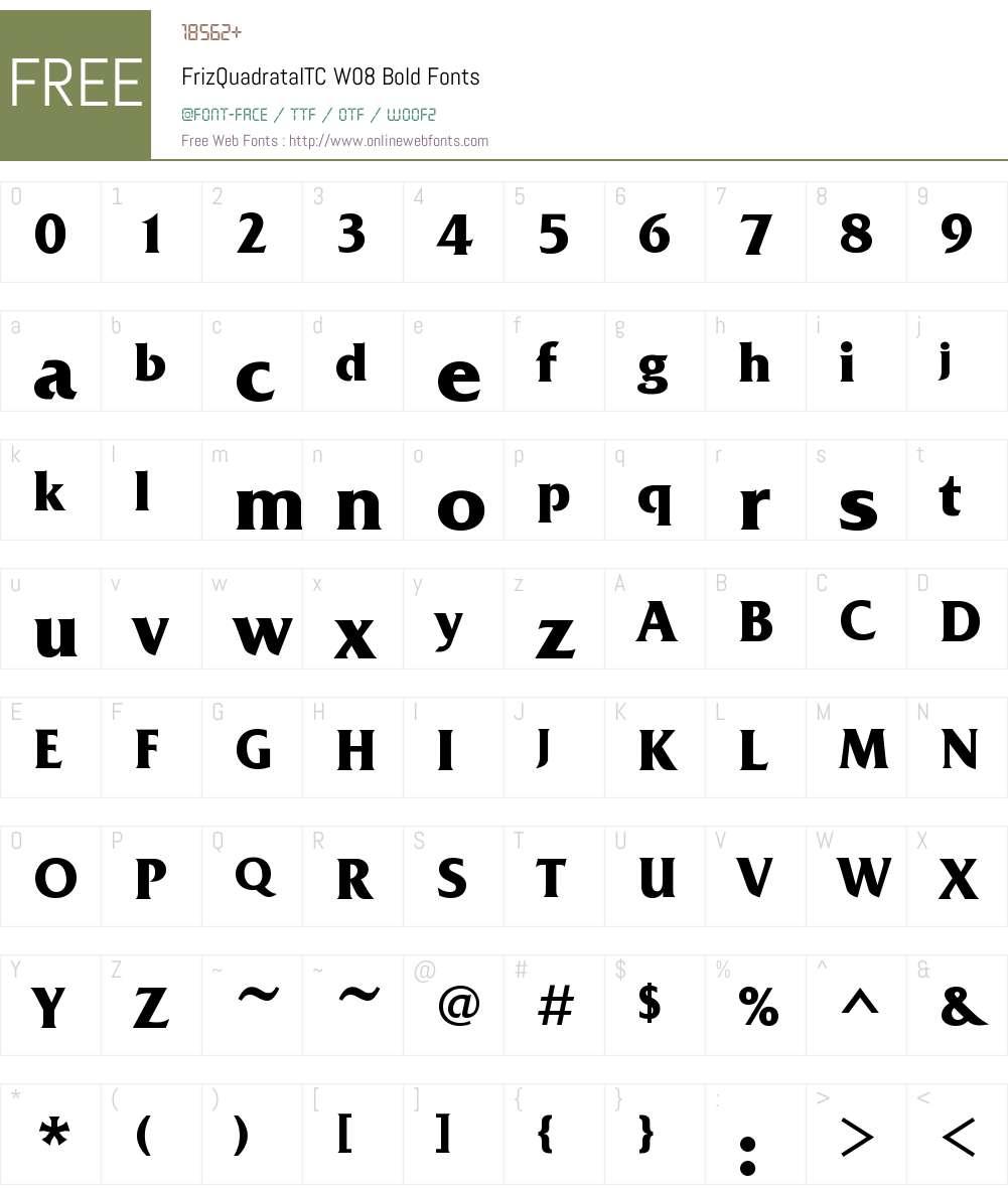 FrizQuadrataITCW08-Bold Font Screenshots