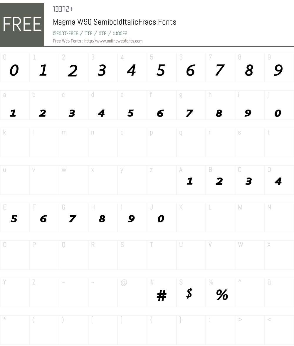 MagmaW90-SemiboldItFracs Font Screenshots