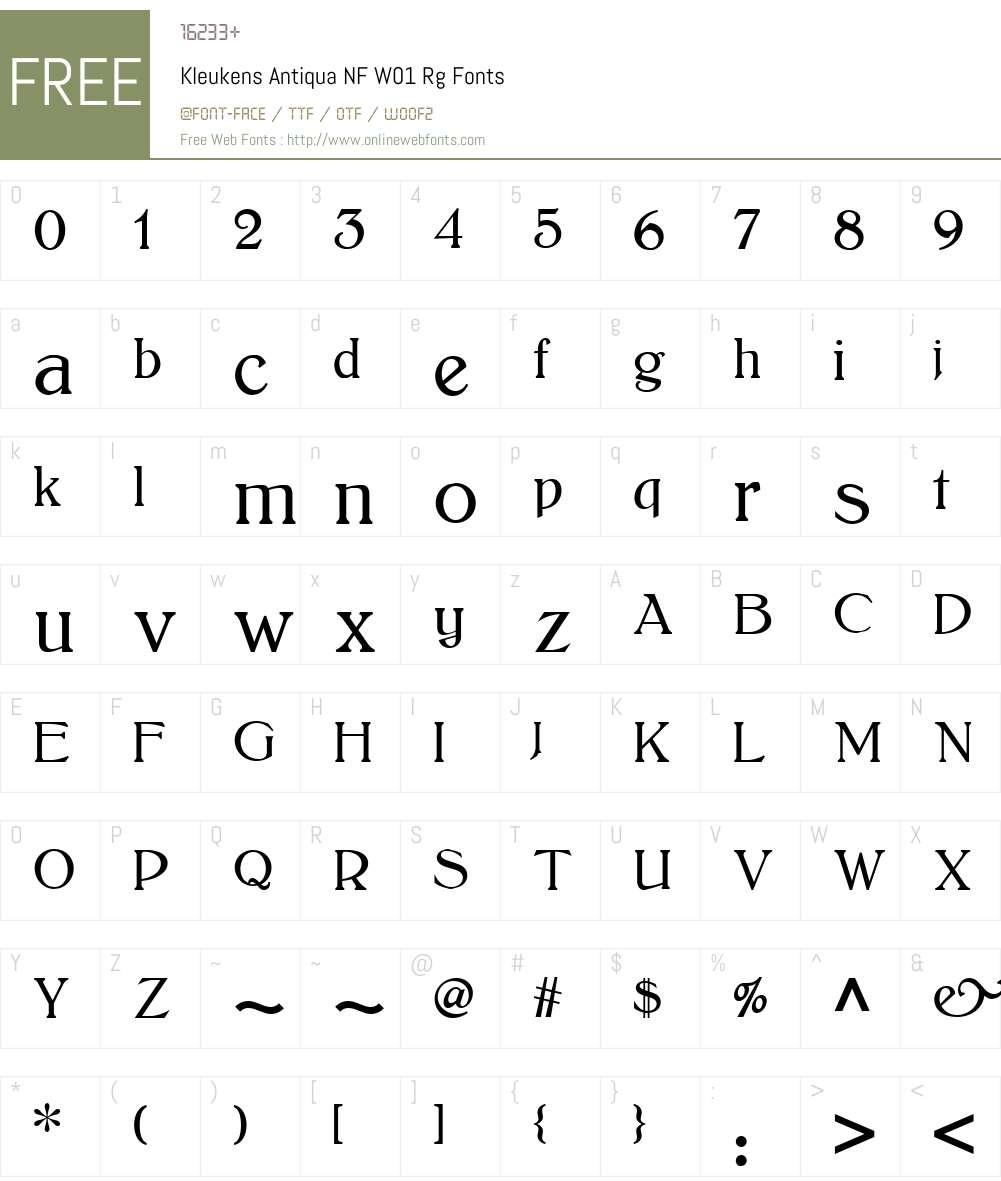 KleukensAntiquaNFW01-Rg Font Screenshots