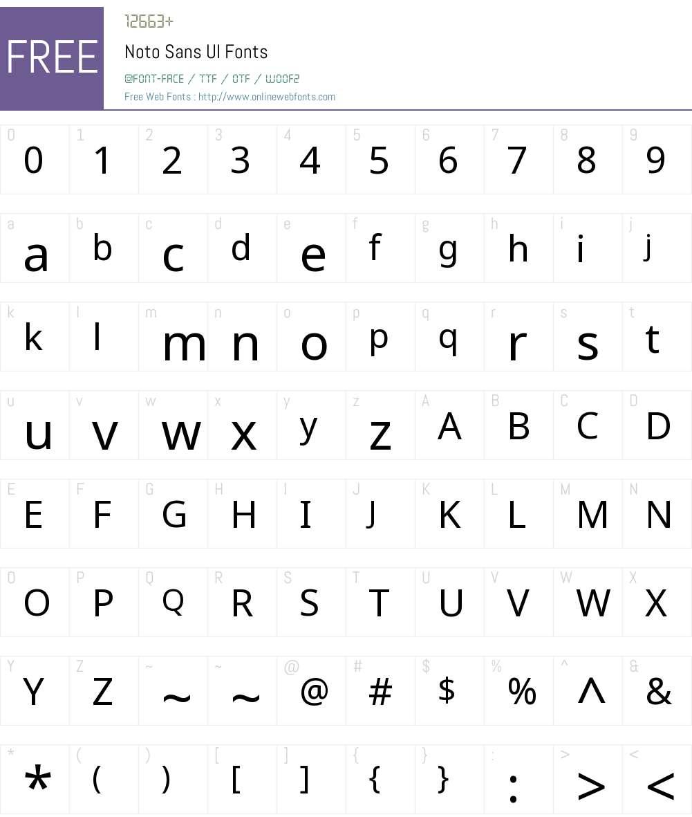 NotoSansUIRegular Font Screenshots