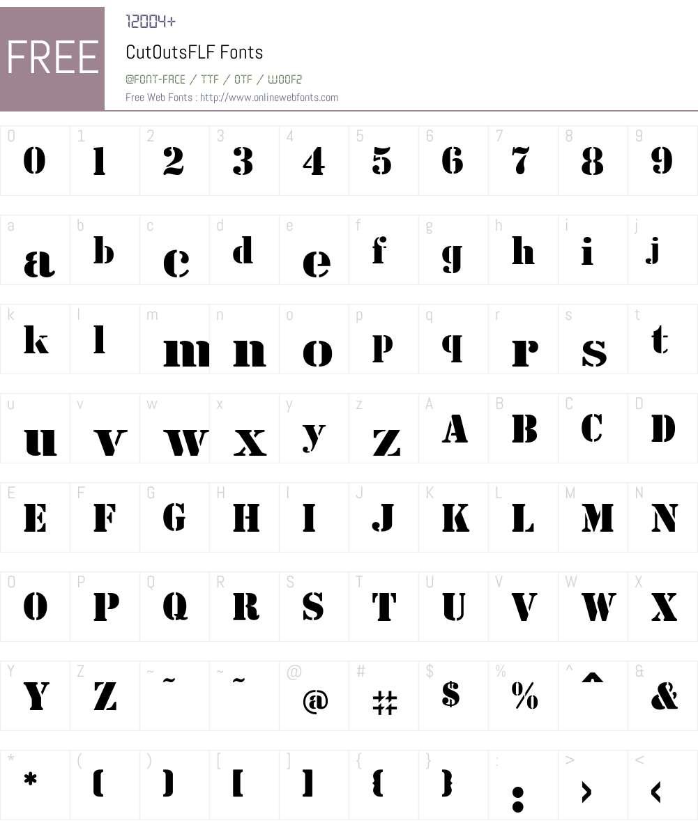 CutOutsFLF Font Screenshots