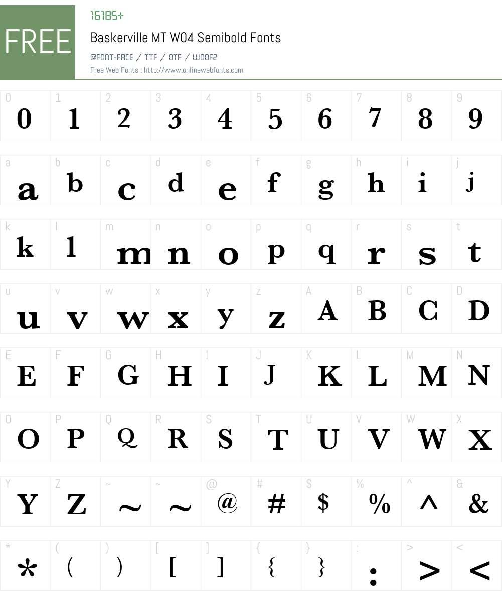 Monotype Baskerville Font Screenshots