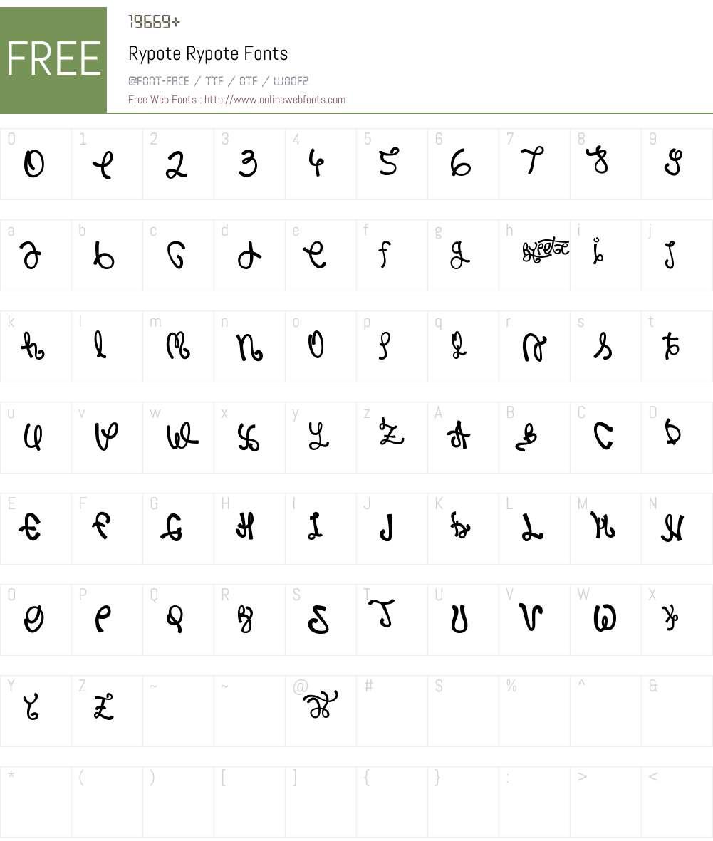 Rypote Font Screenshots