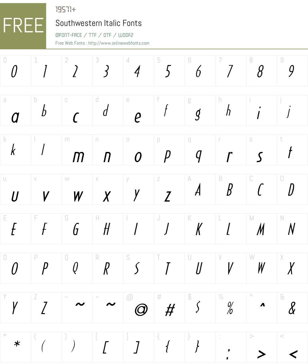 Southwestern Font Screenshots