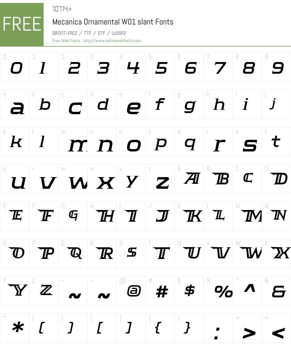 MecanicaOrnamentalW01-slant Font Screenshots
