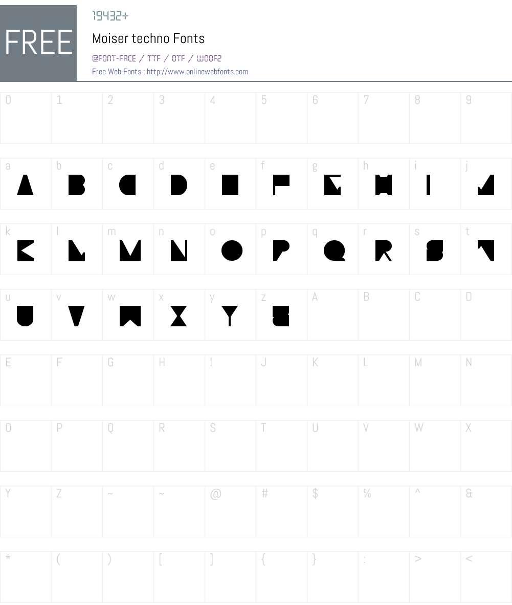 Moiser techno Font Screenshots