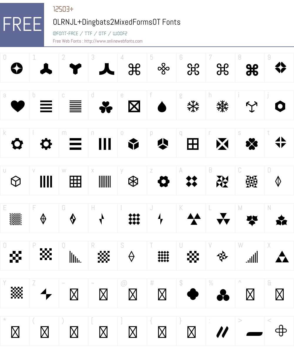 OLRNJL+Dingbats2MixedFormsOT Font Screenshots