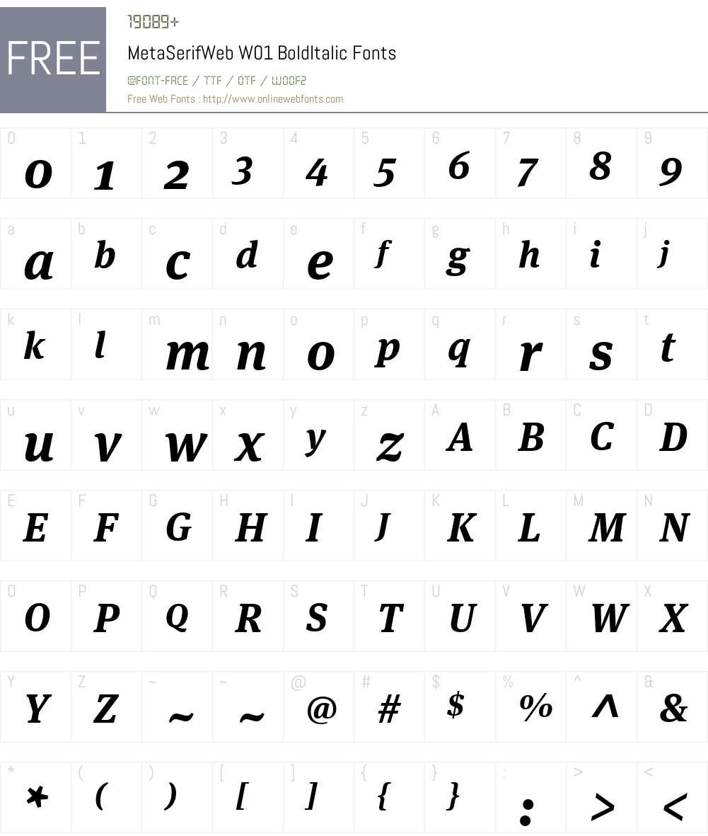 MetaSerifWebW01-BoldItalic Font Screenshots