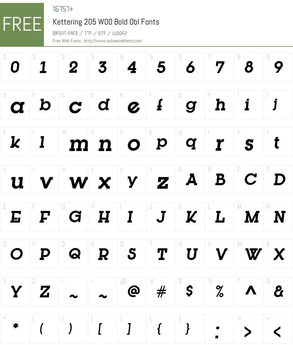 Kettering205W00-BoldObl Font Screenshots