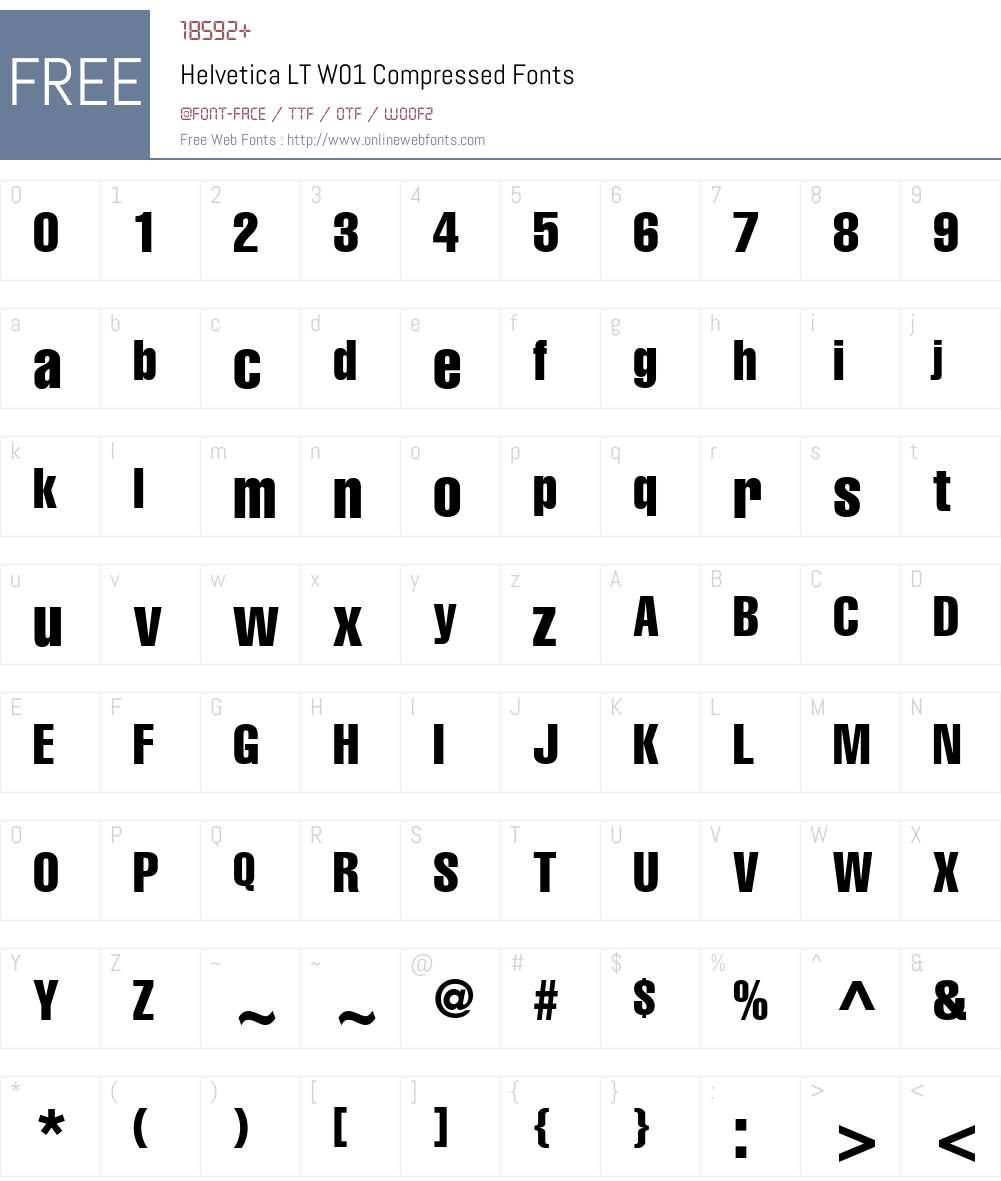 HelveticaLTW01-Compressed Font Screenshots