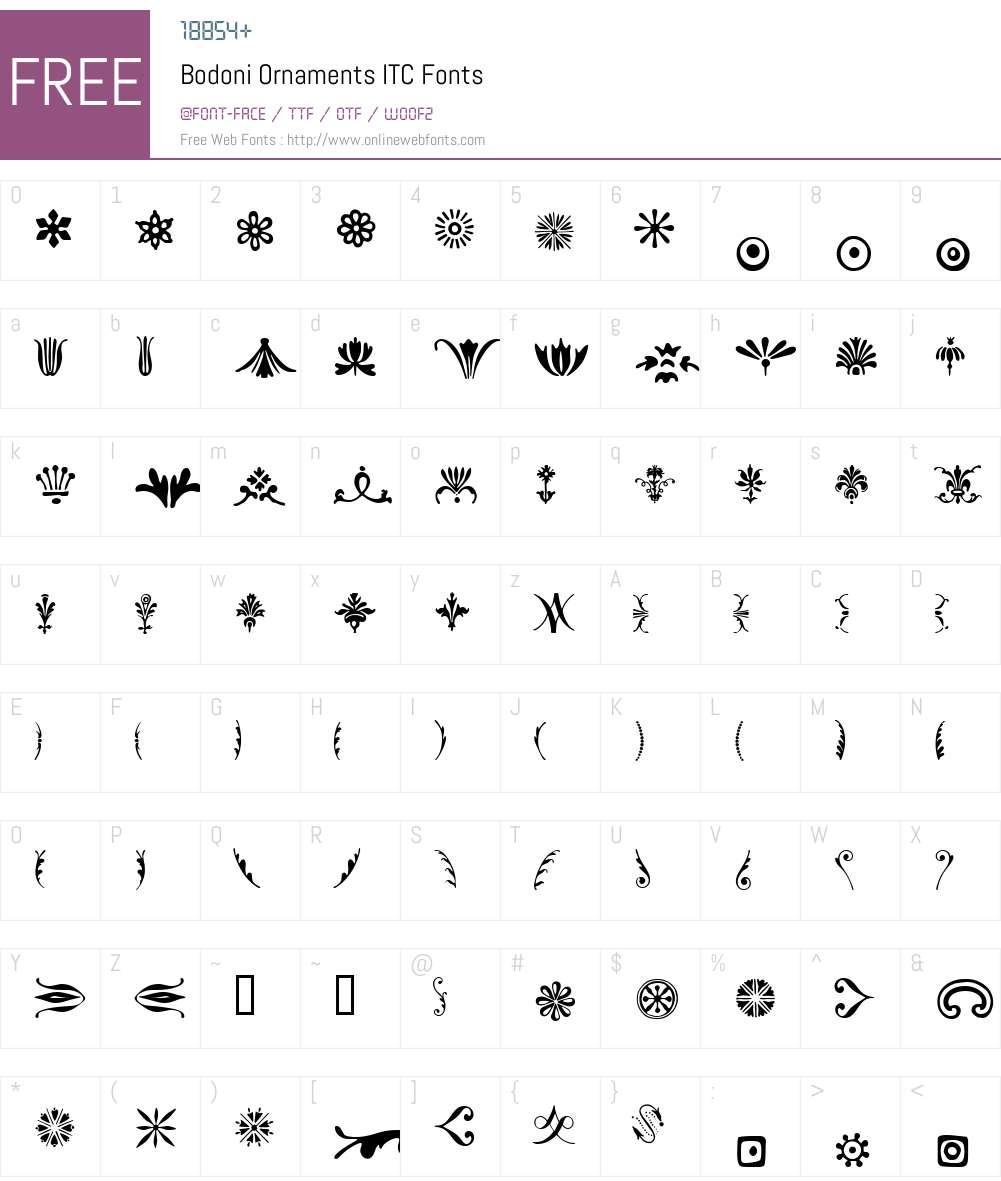 Bodoni Ornaments ITC Font Screenshots