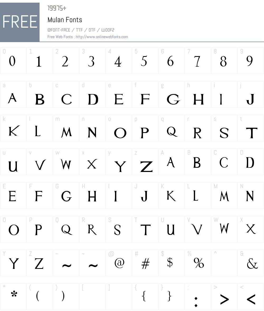 Mulan Font Screenshots
