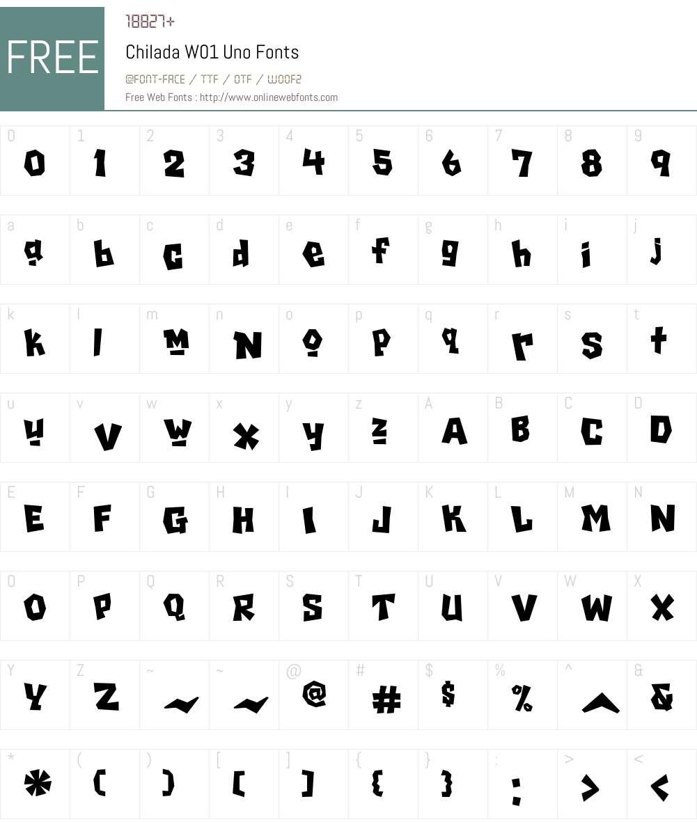 ChiladaW01-Uno Font Screenshots