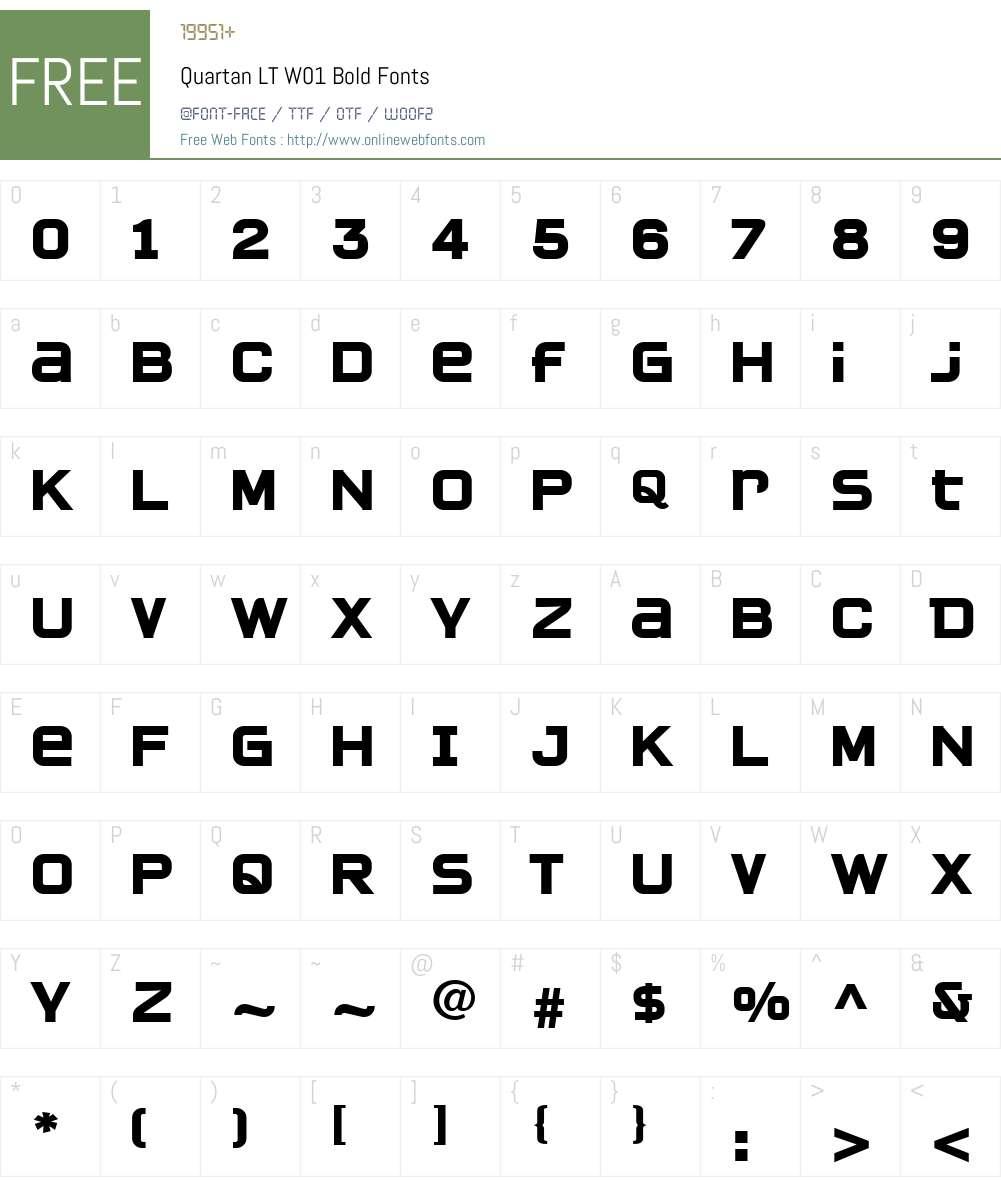 QuartanLTW01-Bold Font Screenshots