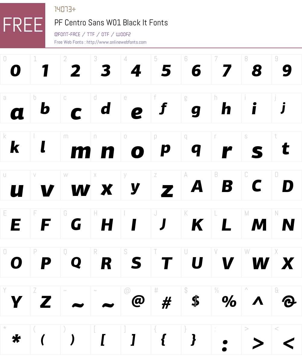 PFCentroSansW01-BlackItalic Font Screenshots