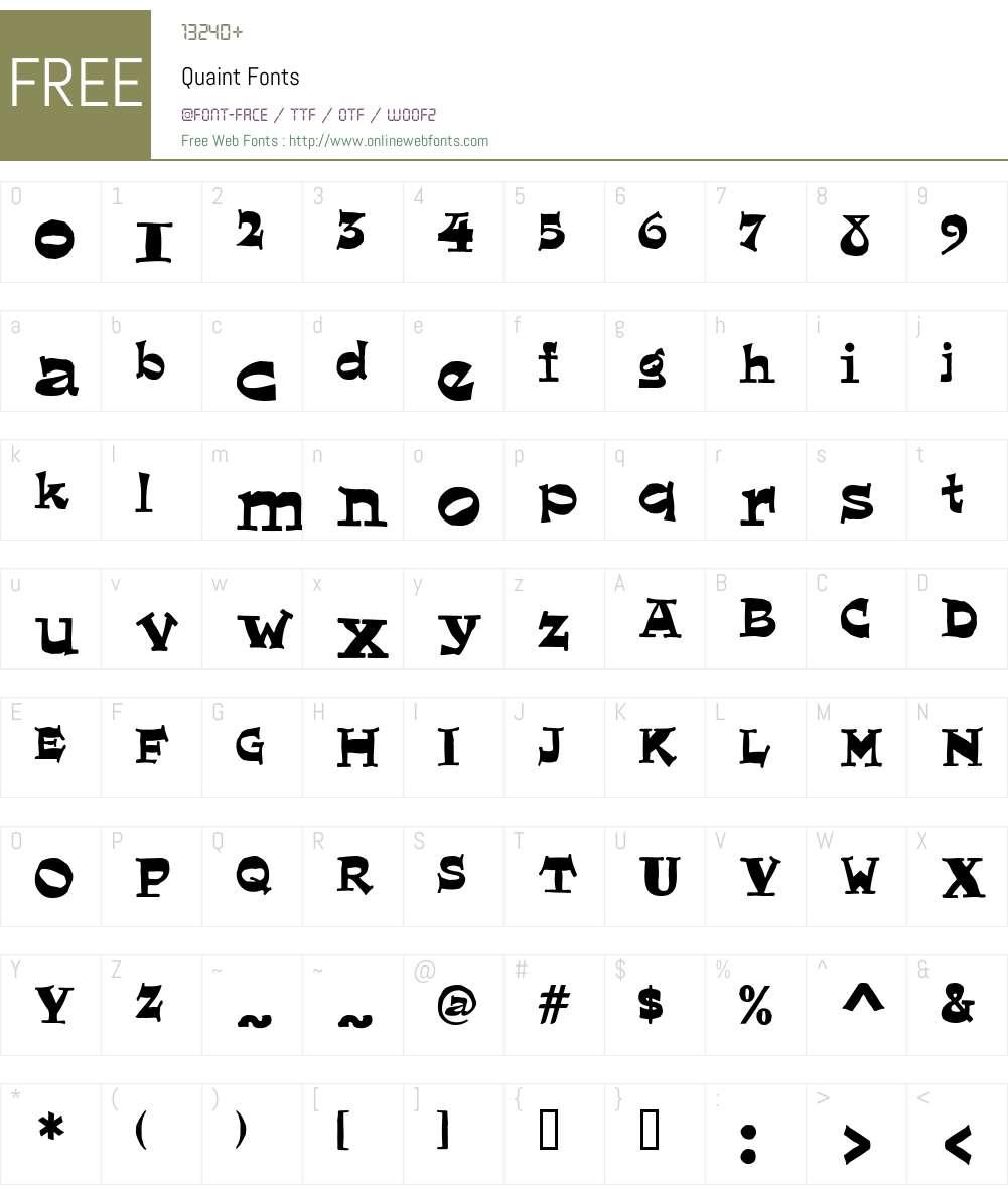 Quaint Font Screenshots